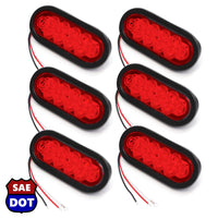 "(6) fits Trailer Truck LED Sealed RED 6"" Oval Stop/Turn/Tail Light Marine Waterproof"