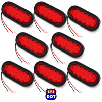 "(8) fits Trailer Truck LED Sealed RED 6"" Oval Stop/Turn/Tail Light Marine Waterproof"