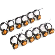 "12) fits 3/4"" Amber LED Amberance Side Marker Lights Truck Trailer Pickup Flush Mount"