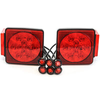 "Led fits Pair Trailer Square Tail Light under 80"" & (6) 3/4"" Red Side Marker Lights"