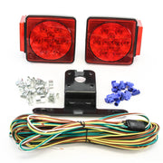 "LED fits Submersible DOT Compliant Trailer Light Kit Square Under 80"" Tail Stop Brake Boat Marine"