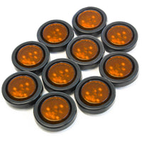 "(10) fits Amber LED 2"" Round Clearance/Side Marker Light Kits with Grommet Truck Trailer RV"