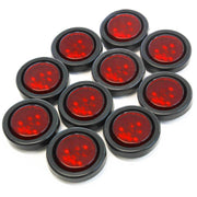 "(10) fits Red LED 2"" Round Clearance/Side Marker Light Kits with Grommet Truck Trailer RV"