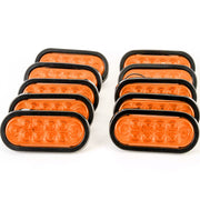 "(10) fits 6"" Oval Amber LED Parking OR Turn Signal Light Flush Mount Trailer Truck"