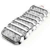 "(8) fits 6"" Oval Red Clear Chrome LED Stop Turn Tail Light Surface Mount Trailer Truck"