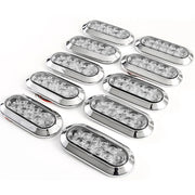 "(10) fits 6"" Oval Red Clear Chrome LED Stop Turn Tail Light Surface Mount Trailer Truck"