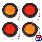 "4"" fits Round 2 Red & 2 Amber 10 LED Stop Turn Tail Light Brake Flush Truck Trailer"
