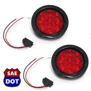 "4"" fits Round (2) Red 10 LED Stop Turn Tail Light Brake Flush Pair Truck Trailer"