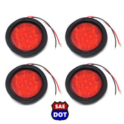 "4"" fits Round (4) Red 10 LED Stop Turn Tail Light Brake Flush Truck Trailer 2 Pairs"