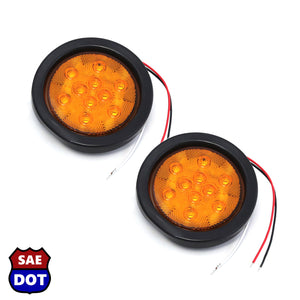 "DOT fits Compliant 4"" Round (2) Amber 12 LED Stop Turn Tail Light Brake Flush Pair Truck Trailer Universal"