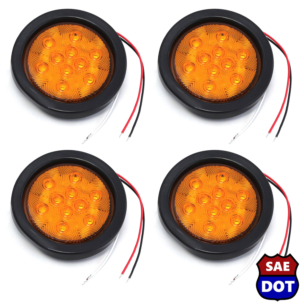 "4"" fits Round (4) Amber 10 LED Stop Turn Tail Light Brake Flush Truck Trailer 2 Pairs"