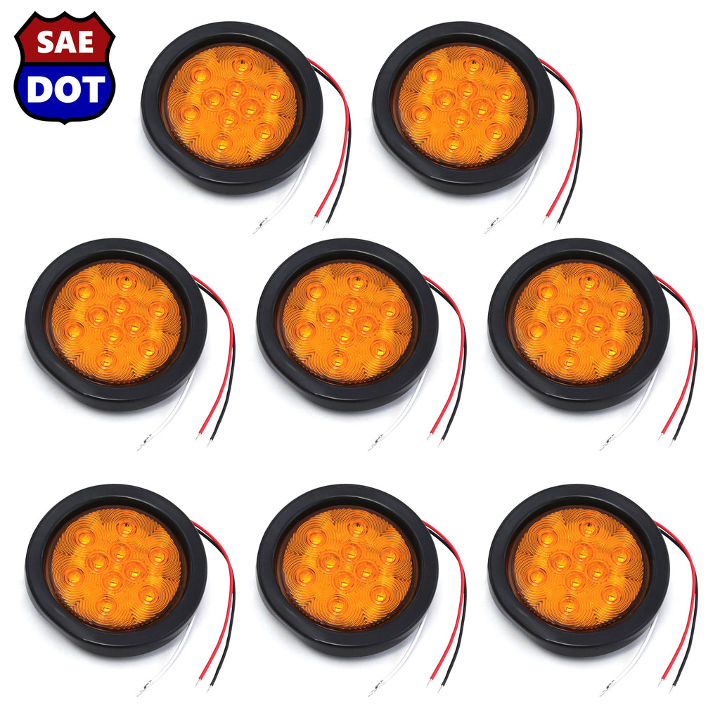 "4"" fits Round (8) Amber 10 LED Stop Turn Tail Light Brake Flush Truck Trailer 4 Pairs"