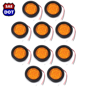 "4"" fits Round (10) Amber 10 LED Stop Turn Tail Light Brake Flush Truck Trailer 5 Pairs"