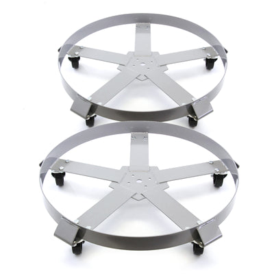 2) fits Extra Heavy Duty 55 Gallon Drum Dolly Dollies Swivel Casters Steel Frame Non Tip 1250 lbs 5 Wheel