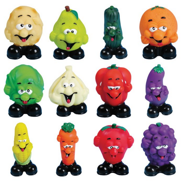 Squeaky Fruit n' Veg Toys (Pack of 12) Vinyl