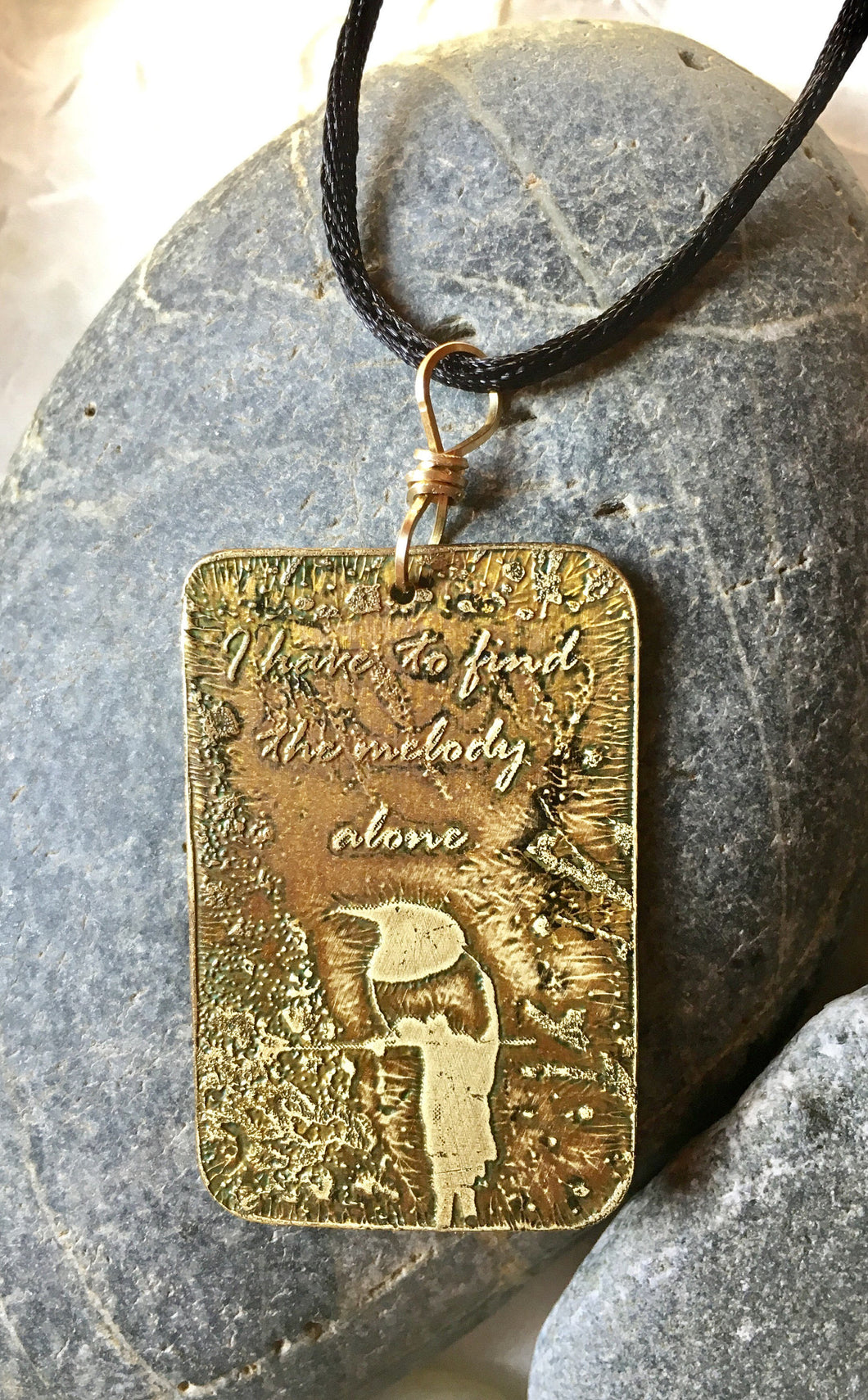 Morning song brass etched pendant jewelry by jeane morning song brass etched pendant aloadofball Images