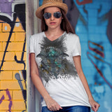 Music iNkBLOT • Ladies - All Over Front Print V-Neck T-Shirt - Chosen Tees