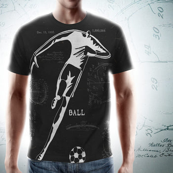 PATENT Soccer Ball • Fellas - Front & Back All-Over Print Black T-Shirt - Chosen Tees