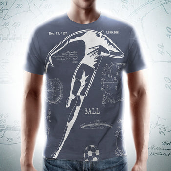 PATENT Soccer Ball • Fellas Front & Back All-Over Print Blue T-Shirt - Chosen Tees