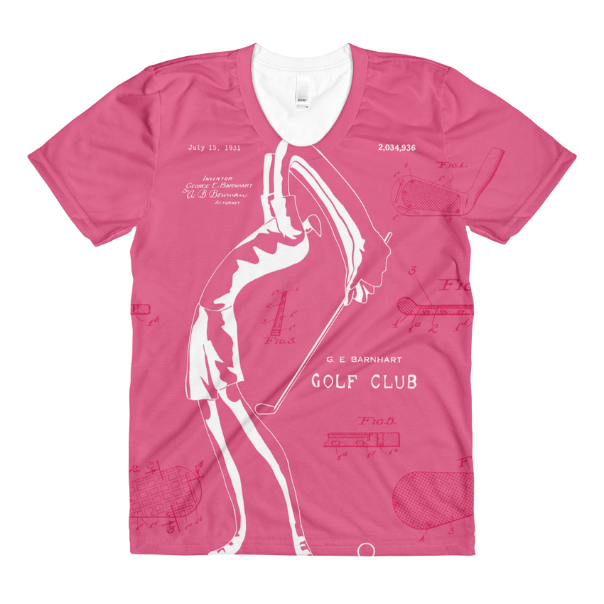 PATENT Golf Club • Ladies Front & Back All-Over Print Pink Crew Neck T-Shirt - Chosen Tees
