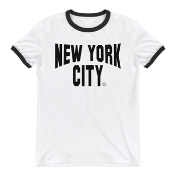 ICONIC NYC White Ringer T-Shirt - Chosen Tees