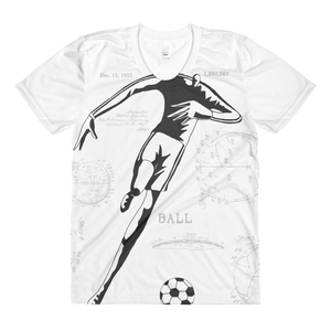PATENT Soccer Ball • Ladies - Front & Back All Over Print Crew Neck T-Shirt - Chosen Tees