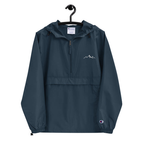 Embroidered Rain Jacket - Navy Blue