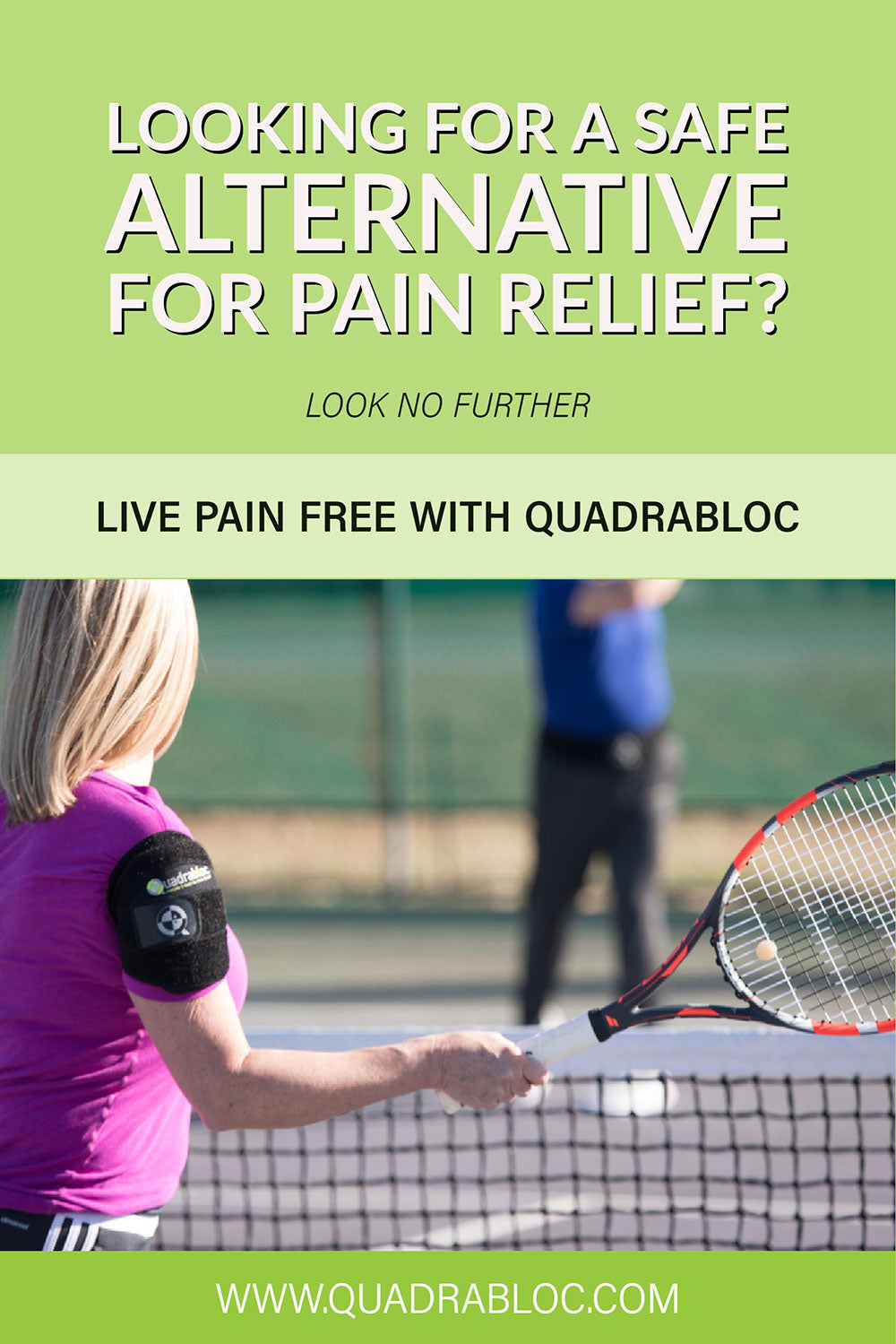 Looking for a safe natural alternative for pain relief? Quadrabloc blocks pain fast!