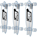 Vertical Skateboard Storage Rack with three Ghost Skateboards