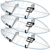 Surfboard Storage Rack with three Ghost Surfboards