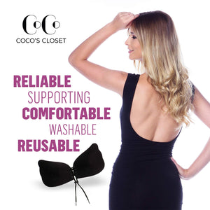 Strapless, Backless Adhesive Butterfly Bra, Nude & Black - Coco's Closet