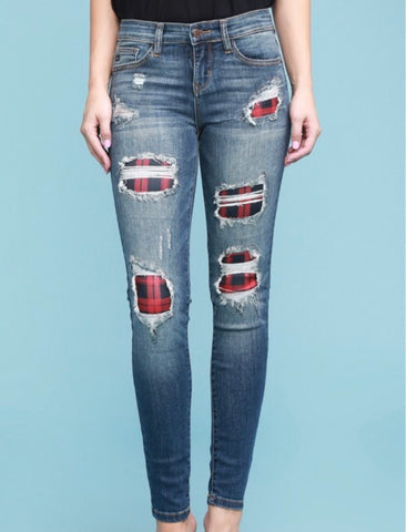 Red buffalo plaid distressed denim