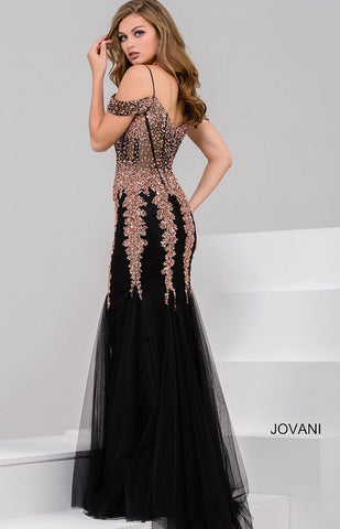 Black and Rose Gold Off the Shoulder Mermaid 51115
