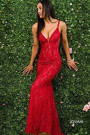 Red Sleeveless Fitted Gown 48994