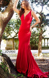 RED V NECK FITTED JERSEY PROM DRESS