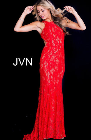 Red Nude Long Fitted Open Back Prom Dress JVN41875