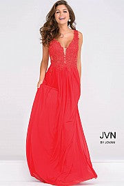 Sheer Neckline Chiffon Embroidery Beaded Prom Dress JVN41466