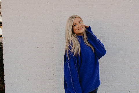 Royal Blue raw hem sweater