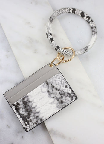 Tae Bracelet Keychain With Card Holder Gray