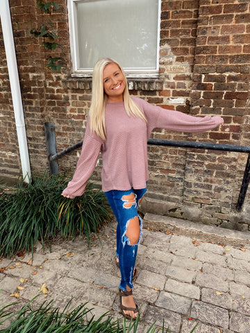 Fall highlight top-mauve
