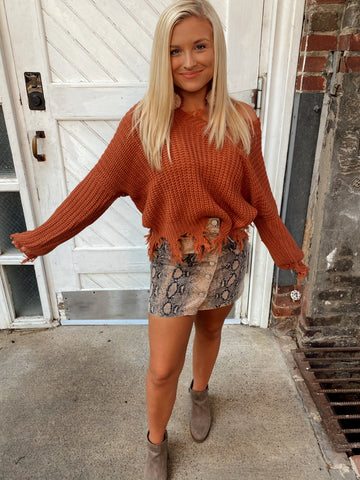 Rust distressed sweater