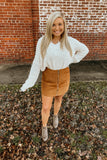 Camel corduroy zip up front skirt