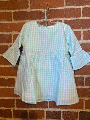 CLEAR BLUE GINGHAM BELLE BABYDOLL DRESS
