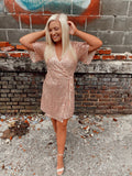 Blush Sequin Wrap Mini Short Sleeve Dress With Front Tie