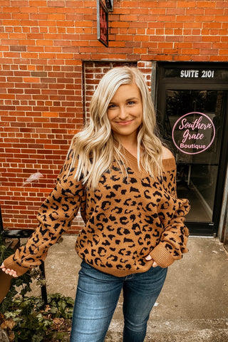 Leopard print V neck sweater