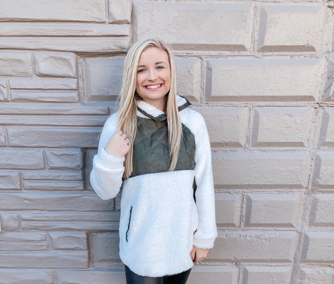 Ivory & Olive Sherpa Pullover