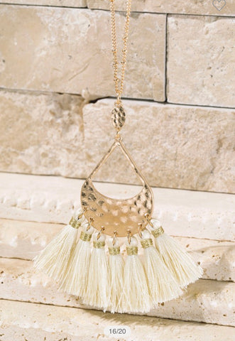 Ivory Tear DROP WITH TASSEL NECKLACE
