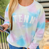 Cotton Candy Tie-Dye Corded Crew Sweatshirt
