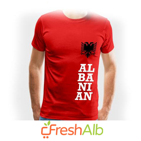 "T Shirt ( Collarless T Shirt ) for Men ""Albanian"""