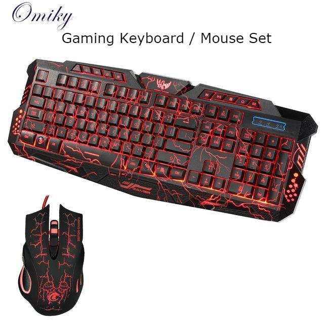 3 Color LED Gaming Wired Keyboard and Mouse Set for Computer Gamer